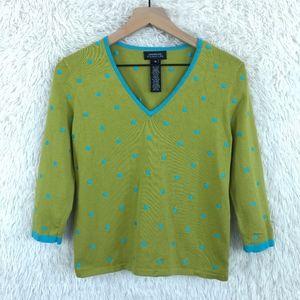 Jones NY | Embroidered Polka Dot Sweater Sz Medium